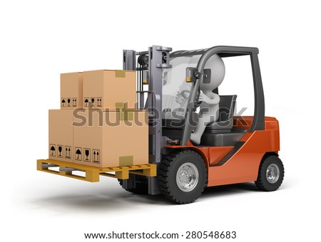 Forklift carrying boxes. 3d image. White background.