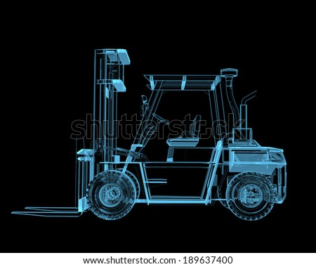Forklift crane x-ray blue transparent isolated on black - stock photo