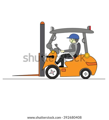 forklift driver in protective vest driving forklift at warehouse of freight forwarding company - stock photo