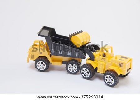 forklift dump truck car toy Abstract background