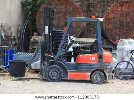 Forklift in a construction site, Arsenale of Venice, Italy