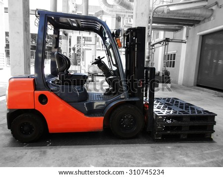 Forklift in petrochemical plant Thailand.