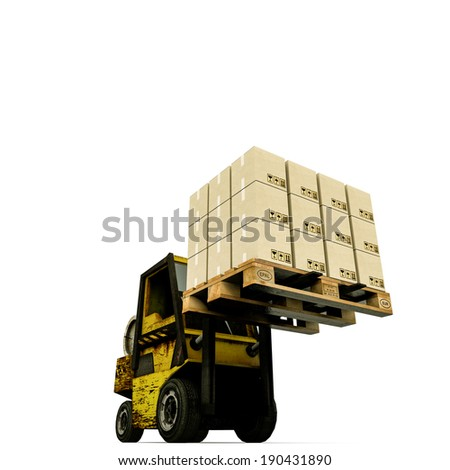 forklift isolated on white background - stock photo