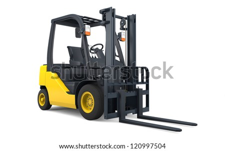 Forklift isolated with clipping path - stock photo