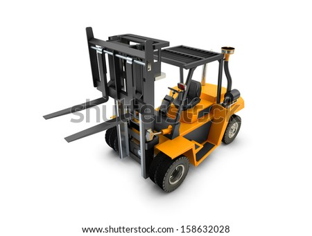 Forklift Lift truck isolated on white background - stock photo