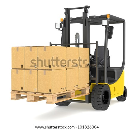 Forklift Truck and Pallet. Forklift Truck with a Pallet and Boxes. Warehouse and logistics series. - stock photo