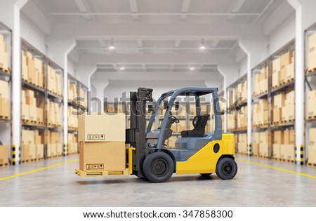 Forklift truck in warehouse. 3d illustration. - stock photo