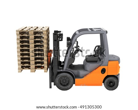 Forklift truck lifts the pallets. Without shadow. 3d render.
