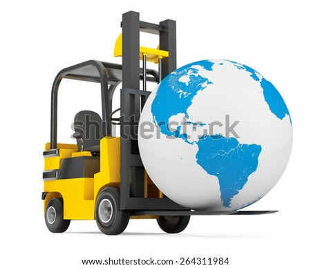 Forklift Truck moves Earth Globe on a white background - stock photo