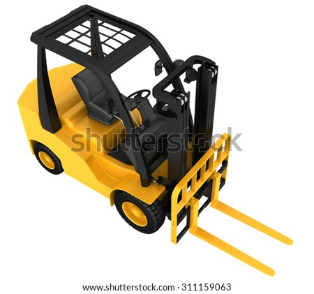 Forklift truck on white isolated background. 3d render