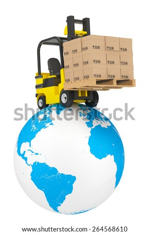 Forklift truck with boxes and pallet over Earth Globe on a white background - stock photo