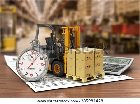Forklift truck with boxes and stopwatch on the storage. Express delivery concept.  - stock photo