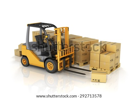 Forklift truck with boxes. Cargo. - stock photo