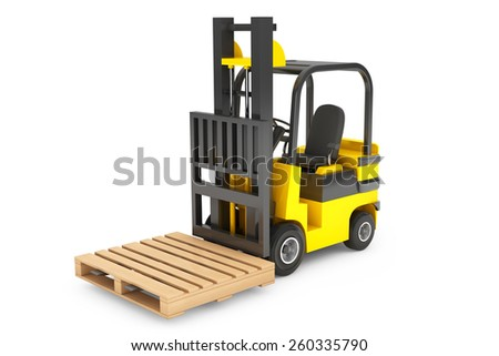 Forklift Truck with empty palette on a white background - stock photo