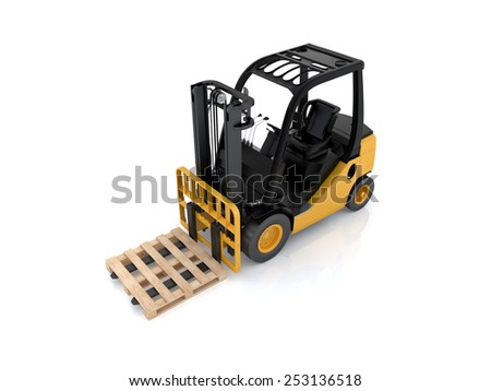Forklift truck with pallet. Cargo. 3d render on white background - stock photo