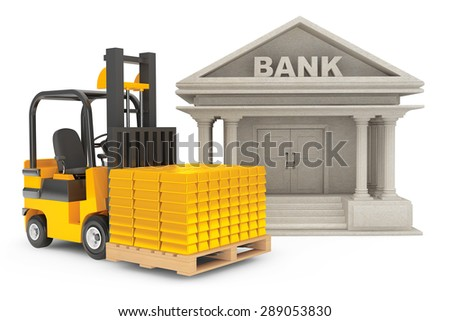 Forklift Truck with Stacked Golden Bars near Bank Building on a white background - stock photo