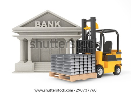 Forklift Truck with Stacked Silver Bars near Bank Building on a white background - stock photo