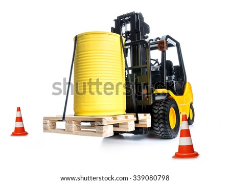 forklift truck with yellow container placed on wooden pallet shot on white background - stock photo