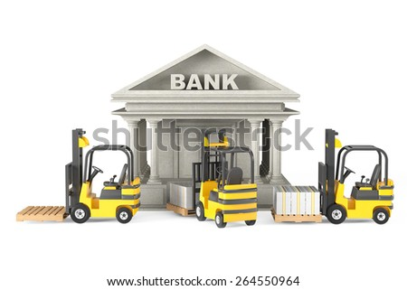 Forklift Trucks moves Stacked Dollars in Bank Building on a white background - stock photo