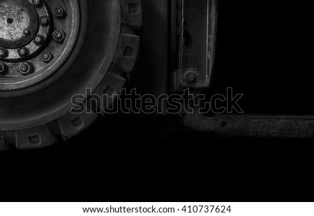 Forklift waste due lack of care,waiting to be repaired.in the shadow - stock photo