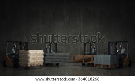 Forklift with building materials - stock photo