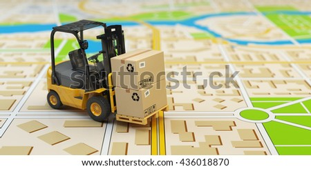 Forklift with cardboard boxes on the city map. Cargo delivery concept. 3d illustration - stock photo