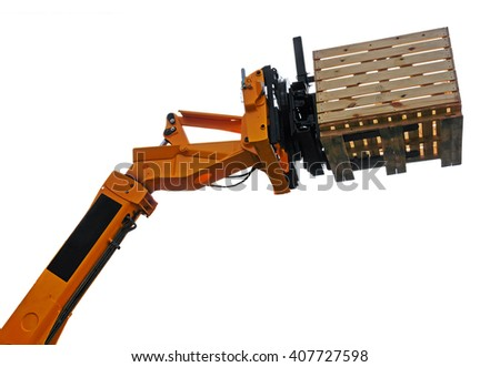 Forklift with wooden crate isolated. Clipping path included.