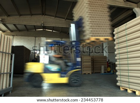 Forklift working - stock photo