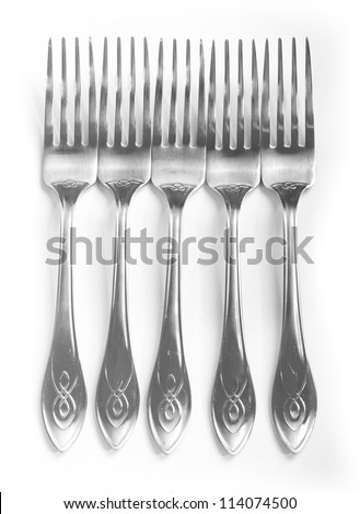 Forks isolated on white background
