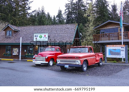 Forks Visitor Information Center with Bella's car - Twilight - FORKS / WASHINGTON - APRIL 14, 2017