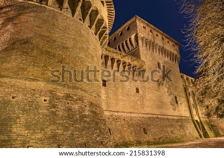 Forli, Emilia Romagna, Italy: detail of medieval castle of Caterina Sforza at night, ancient fortress in the old town