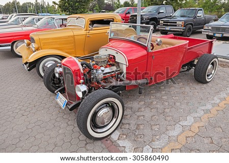 "FORLIMPOPOLI, ITALY - JUNE 15: classic american hot rod pickup Ford in rally of vintage and custom cars ""Kustom Revolution"" on June 15, 2015 in Forlimpopoli, FC, Italy - stock photo"