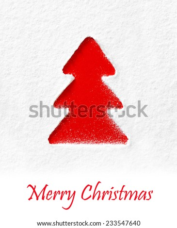 form a fir on snowy background - stock photo