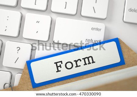 Form. Blue Card File on Background of White Modern Keypad. Archive Concept. Closeup View. Blurred Image. 3D Rendering.
