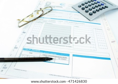 Form filling, taxes in Italy, unified payment, F 24 - Italy.