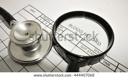 FORM OF BLOOD PRESSURE, BLOOD PRESSURE CHECK copyspace, CONCEPT OF LEARNING. - stock photo