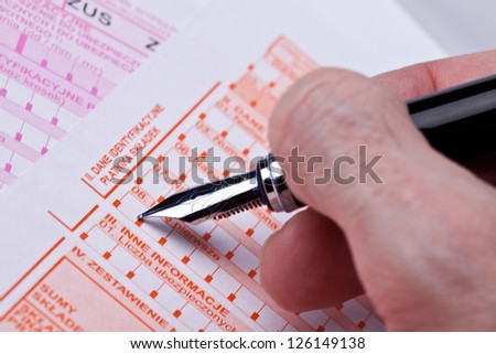 form of social insurance. ZUS Poland - stock photo