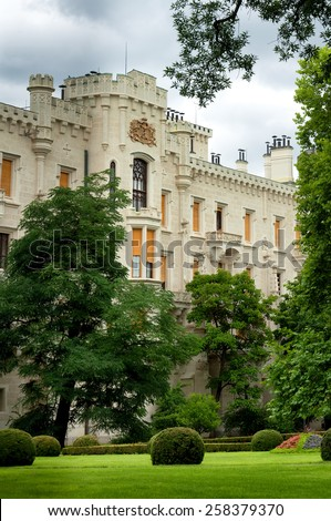 Formal Gardens and Castle in Hluboka nad Vltavou, Czech Republic - stock photo