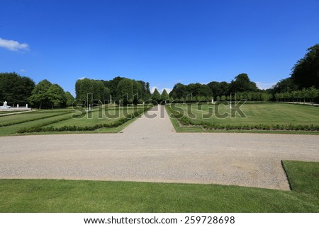 Formal gardens at the Fredensborg Palace, the summer home of the Queen of Denmark - stock photo