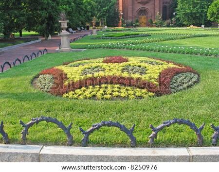 Formal geometric garden near National Mall in Washington, DC - stock photo