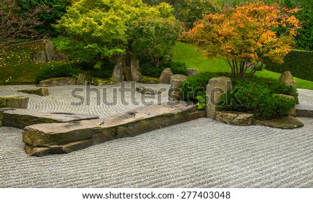 Formal Japanese garden in Autumn. Gardens of the World, Berlin  - stock photo