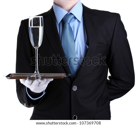 formal waiter with a glass of water on silver tray isolated on white - stock photo