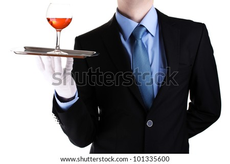 formal waiter with a glass of wine on silver tray isolated on white - stock photo