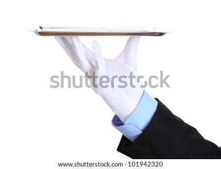 formal waiter with a silver tray isolated on white - stock photo