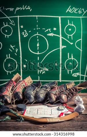Formation tactics in ice hockey - stock photo