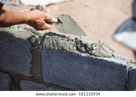 Formations with cement mortar - stock photo