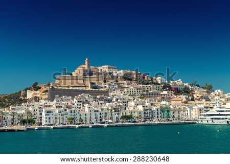 FORMENTERA, SPAIN - JUNE 4, 2015: Ibiza Port. Ibiza is a very famous tourist attraction. - stock photo