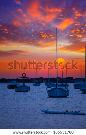 Formentera sunset at Estany des Peix lake in Balearic Islands - stock photo