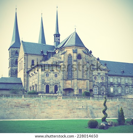 Former Benedictine monastery in Bamberg, Germany. Instagram style filtred image - stock photo