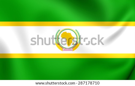 Former Flag of the African Union. Close Up. - stock photo